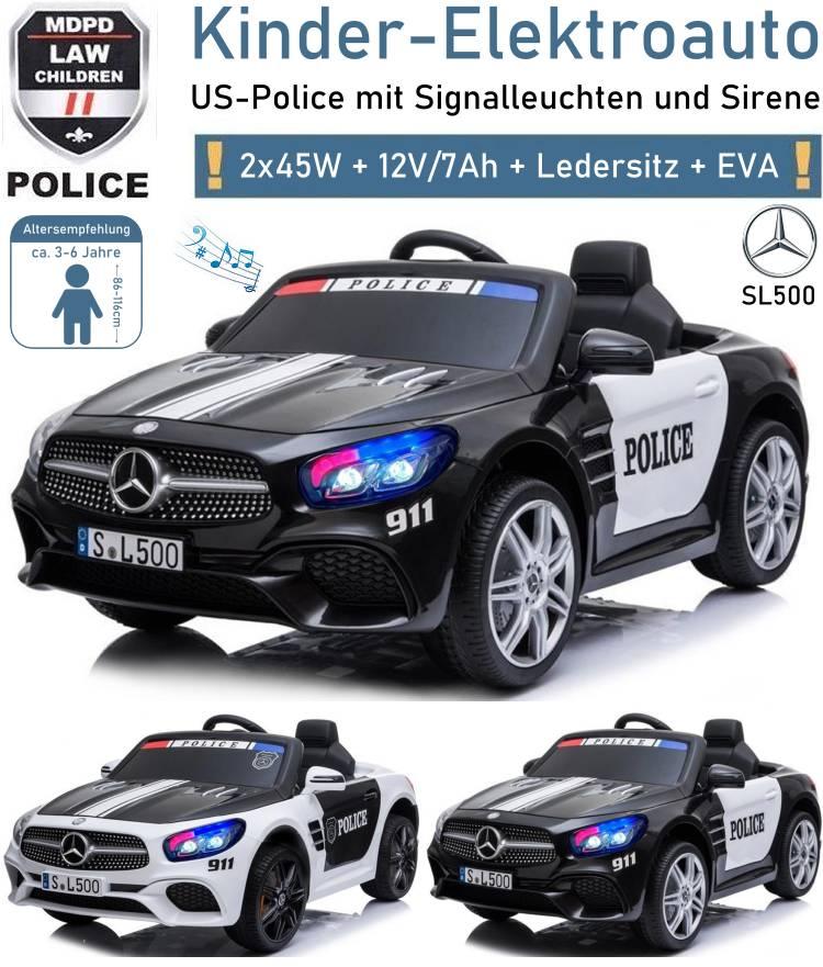 Kinder Elektrofahrzeug Mercedes Benz SL500 Polizei Elektroauto
