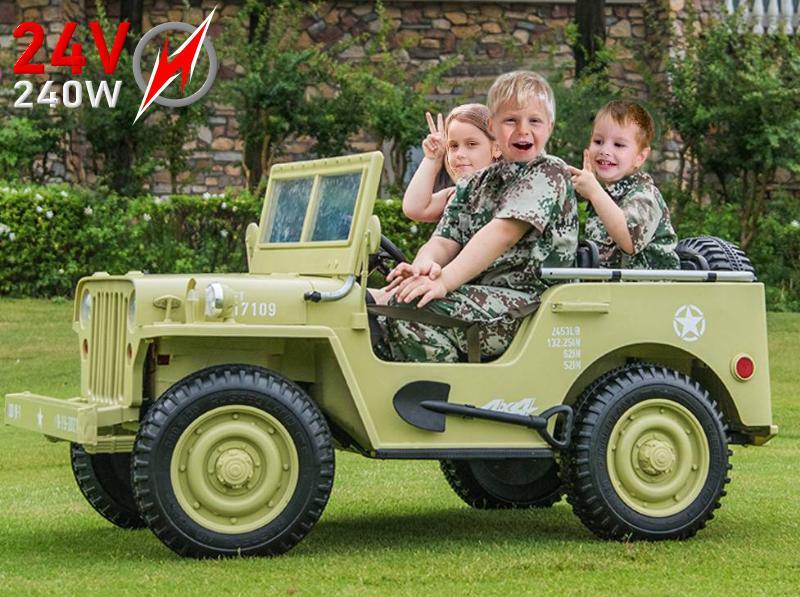 JH-101 24V Elektroauto Military für Kinder Allradantrieb 4WD Geländewagen Strong