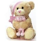 Keel Toys: Schlummerbär mit Musik-Spieluhr Schlafmütze (rosa)