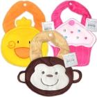 Nursery Time: Figuren-Stoff-Lätzchen Cupcake, Küken, Äffchen