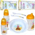 First Steps: Baby Geschenk Set, 3 Flaschen, Schüssel, Besteck