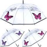 Drizzles: Automatik Regenschirm (transparent / Schmetterling)