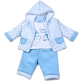 Aardvark: 3-teiliges Baby-Set Jacke Pullover Hose blau Furry Friends