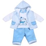 Aardvark: 3-teiliges Baby-Set Weste Pullover Hose blau Little Puppy