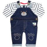 Cheeky Chimp: 2-teiliges Baby Set Jeans-Latzhose und Shirt