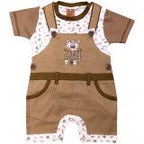 Cheeky Chimp: 2-teiliges Baby Set Latzhose Shirt braun Tiger