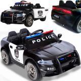 Elektrisches Kinderauto 12V Polizeiauto Ledersitz EVA (schwarz)